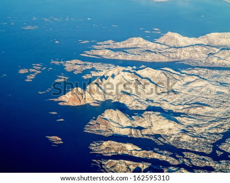 aerial view of west coast of greenland - stock photo