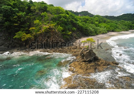 Aerial view of western Costa Rica seashore - stock photo