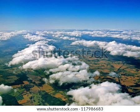 Aerial view of white clouds and  landscape on Denmark.