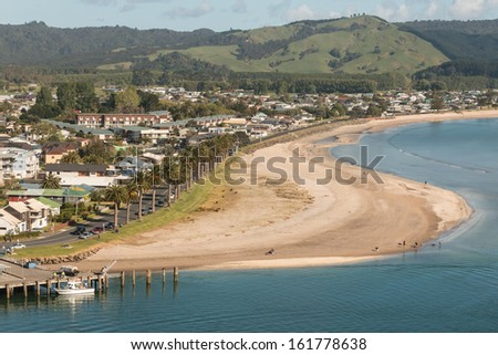 aerial view of Whitianga town in Coromandel Peninsula - stock photo