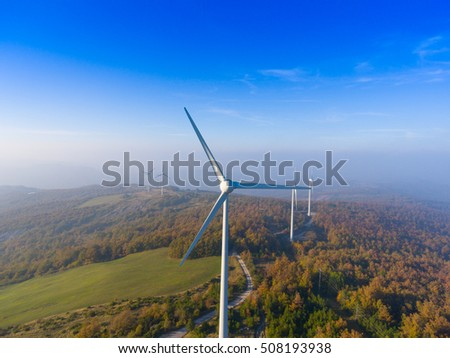 Aerial view of wind turbine blades