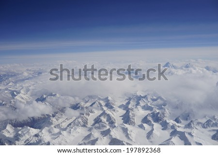 aerial view of winter mountain landscape in China