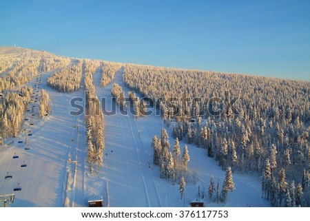 Aerial view of winter sports area of Levi (Kittilae) in Finland
