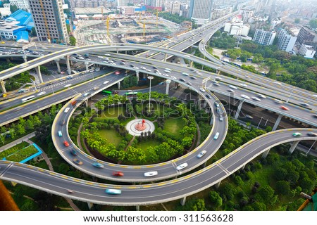 Aerial view of Wuhan at City round viaduct bridge road landscape. Similar to the shape of the human eye - stock photo