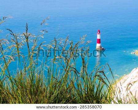 Aerial view on Beachy Head Lighthouse, Eastbourne, East Sussex, England. Selective focus - stock photo