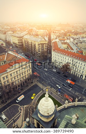 Aerial View On Budapest Sunrise At Winter, Hungary - View From St. Stephen's Basilica   - stock photo