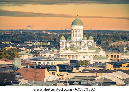 Aerial view on Cathedral in the Old Town of Helsinki, Finland - stock photo