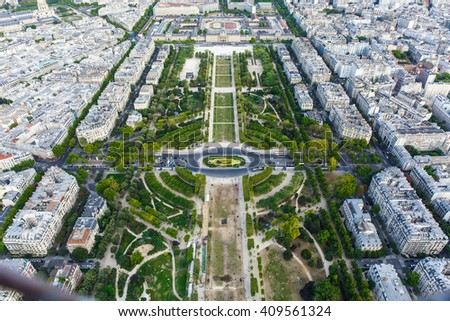 Aerial View on Champ de Mars from the Eiffel Tower in Paris - stock photo