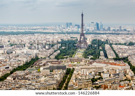 Aerial View on Champs de Mars and Eiffel Tower, Paris, France - stock photo