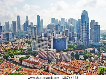 Aerial view on Chinatown and business center of Singapore - stock photo