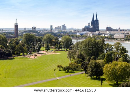 Aerial view on Cologne from Rheinpark