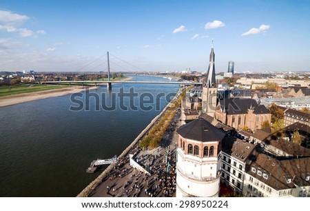 Aerial view on Dusseldorf Altstadt and Rhine river - stock photo
