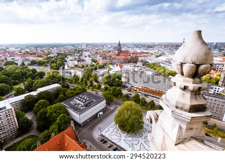 Aerial view on Hanover city, Germany