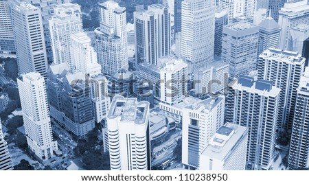 Aerial view on Kuala Lumpur business center from KL Tower, Malaysia - stock photo