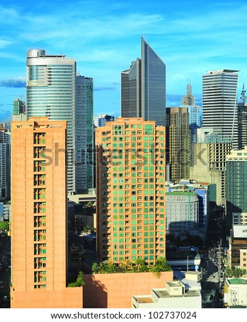 Aerial view on Makati city - modern financial and business district of Metro Manila, Philippines - stock photo