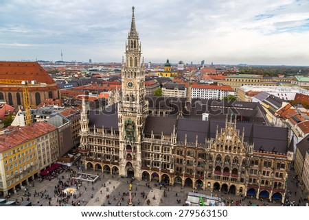 Aerial view on Marienplatz town hall in Munich, Germany - stock photo