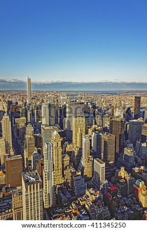 Aerial view on Midtown Manhattan in New York, USA.