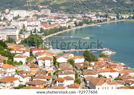 Aerial view on Ohrid old town - Macedonia, Balkans. - stock photo