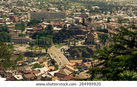 Aerial view on old part of town, Tbilisi, toned picture