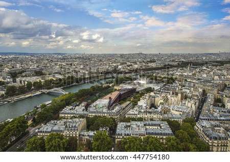 Aerial view on Paris and Sena river from Eiffel tower, Paris, France