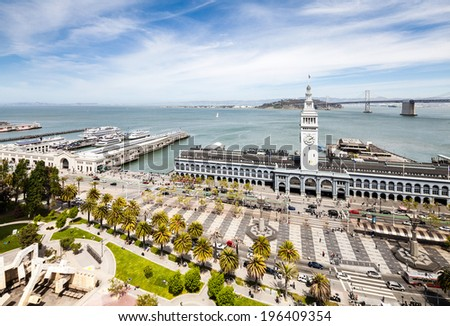 Aerial view on port of San Francisco - stock photo