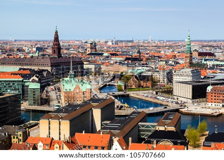 Aerial View on Roofs and Canals of Copenhagen, Denmark - stock photo