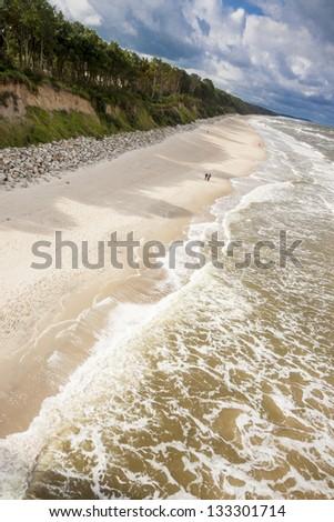 Aerial view on sandy beach - Rewal, Baltic Sea. - stock photo