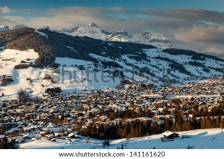 Aerial View on Ski Resort Megeve in French Alps, France - stock photo
