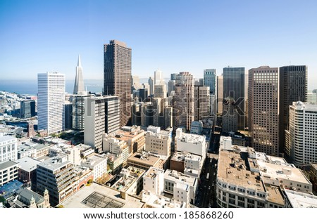 Aerial view on skyscrapers in San Francisco downtown - stock photo