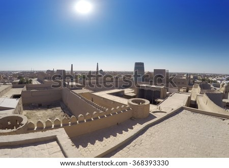 Aerial view on streets of the old city. Uzbekistan. Khiva. - stock photo