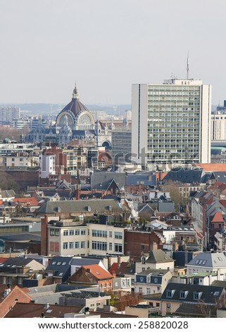 Aerial view on the center of Antwerp, Belgium, with the famous railway station on the left. - stock photo