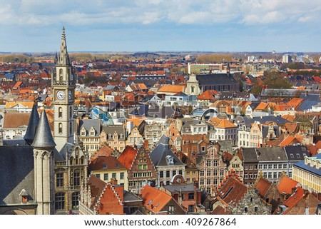 Aerial view on the center of Ghent in Belgium, from the Belfry tower - stock photo