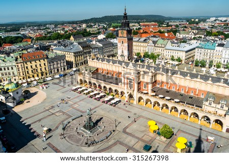 aerial view on the central square of Krakow - stock photo