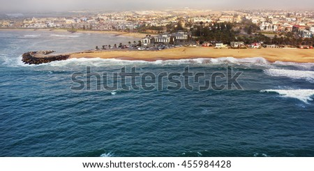 Aerial view on the coast in Namibia and historical districrts of the city Swakopmund in the Namib desert, Atlantic ocean, Africa