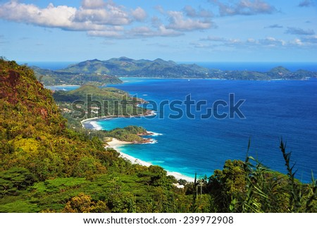 Aerial view on the coastline of the Seychelles Islands, Mahe  - stock photo