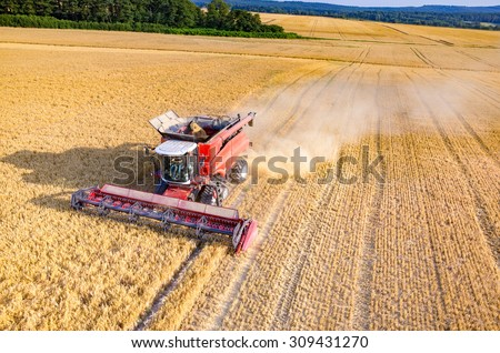 Aerial view on the combine working on the large wheat field - stock photo