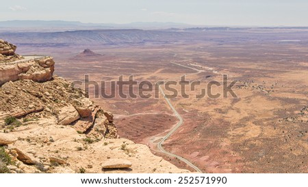 Aerial view on the deserts of monument valley in the US - stock photo