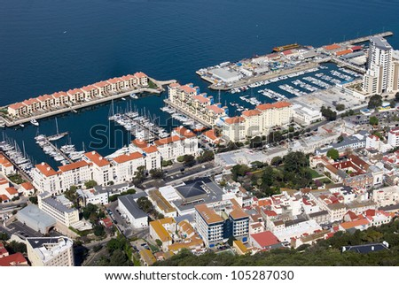 Aerial view on the Gibraltar harbour and housing developments, southern part of Iberian Peninsula.