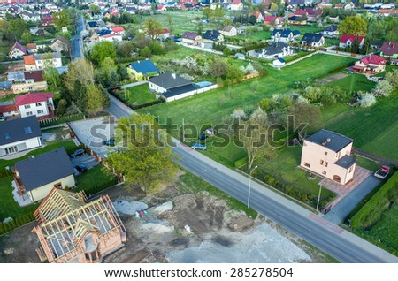 Aerial view on the small city in summer