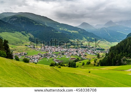 Aerial view on the small city in summer Alps Austria