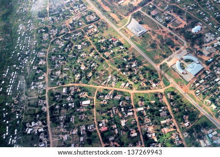 Aerial view on the suburbs of Hwange in Zimbabwe
