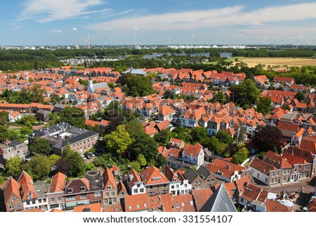 Aerial View on the Town of Brielle, also known as Den Briel, in South Holland, the Netherlands.