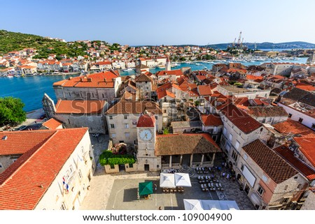 Aerial View on Trogir and it's Main Square from Cathedral of Saint Lawrence, Croatia - stock photo