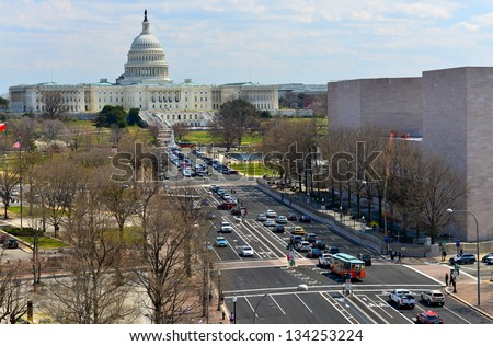 Aerial View on US Capitol and Pennsylvania avenue in Washington DC, United States - stock photo