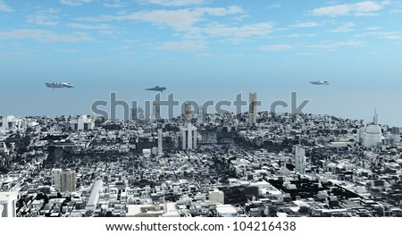Aerial view over a futuristic science fiction city with patrol ships overhead, 3d digitally rendered illustration - stock photo