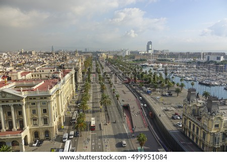 Aerial view over Barcelona and Port Vell from Column - BARCELONA / SPAIN - OCTOBER 5, 2016