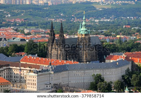 Aerial view over Castle and St. Vitus Cathedral in Prague, Czech Republic