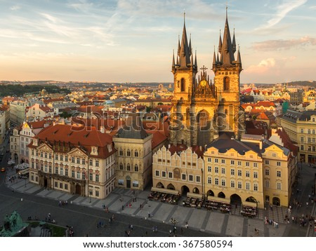 Aerial view over Church of Our Lady before Tyn at Old Town square in Prague, Czech Republic - stock photo