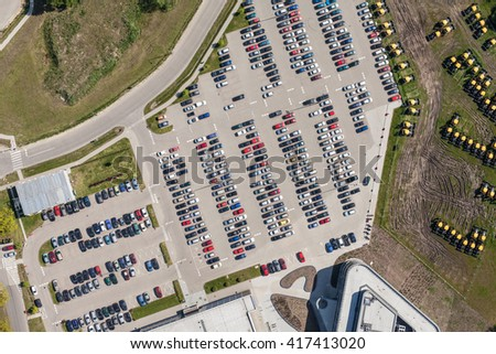 aerial view over crowded car parking  in Poland