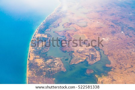 Aerial view over Earth Sea and Coast ,View from the airplane